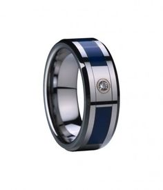 $116 - 8mm Blue Ceramic Inlaid Tungsten Ring