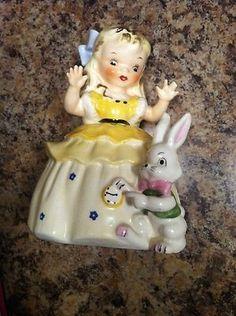 Vintage Napco Alice in Wonderland Girl w/ Rabbit Bunny Easter Figurine 1956 (10/24/2013)