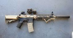 Suppressed AR-15  http://mattelrifle.tumblr.com/image/48559626197
