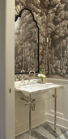 "Gray ""English Landscape"" wallpaper adds character to this powder room. - Traditional Home ® / Photo: Werner Straube / Design: Frank Ponterio"