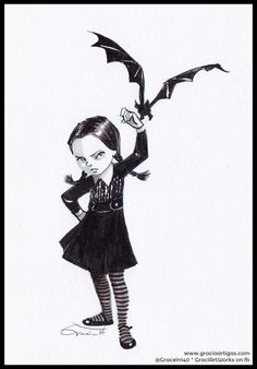 Wednesday Addams by Gracia for Inktober and @Sketch_Dailies