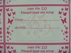50 DJ REQUEST CARDS song small cards WEDDING PARTY INVITATIONS TABLE BUTTERFLIES