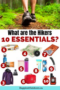 What gear should you bring on every hike? What to pack for a hiking trip? How to stay safe on a hike? Bring the 10 essentials. The hikers ten essentials are key safety items that will keep you safe and happy on every trip. Ten essentials for hikers. Hiking safety gear. What to bring hiking. Backpacking Tips, Hiking Tips, Hiking Gear, Safety And First Aid, Hiking Outfits, 10 Essentials, The 10, Outdoor Woman, What To Pack
