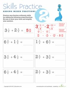 Fifth grade math worksheets help your child study fractions, long division, and geometry. Use fifth grade math worksheets with your blossoming mathematician. Adding Mixed Fractions, Addition Of Fractions, Adding And Subtracting Fractions, Improper Fractions, Mixed Fractions Worksheets, 5th Grade Worksheets, Fifth Grade Math, School Worksheets, Math Practices