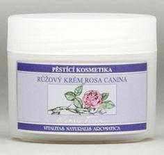 Přírodní kosmetika. Lehký pečující krém Rosa Canina, s vůní a péčí růže, pro suchou a zralou pleť. Coconut Oil, Jar, Food, Essen, Meals, Yemek, Jars, Eten, Glass
