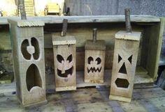 Handmade Halloween Pallet Jacko Lantern's Pallet Lamps, Pallet Lights & Pallet Lighting Pallet Crafts, Diy Pallet Projects, Wood Projects, Woodworking Projects, Craft Projects, Pallet Ideas, Woodworking Plans, Woodworking Quotes, Intarsia Woodworking