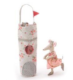 Maileg Mouse Queen with Tower Carrier  From the Danish design company Maileg, this Mouse Queen dons a floral gown, silver shoes, and a matching crown. She even has silver on the tip of her tail! Her lovely castle tower doubles as a carrier complete with a ribbon handle. Both queen and tower are made of 100% cotton.