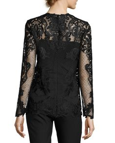 42031607200205 Kobi Halperin Heddie Long-Sleeve Lace Blouse Black Lace Blouse, Lace Tops,  Blouses