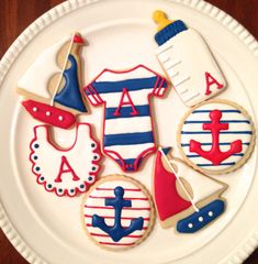 Nautical Baby Shower Cookies-One Dozen by MrsCookieBakes on Etsy Baby Shower Cakes Neutral, Baby Shower Cake Pops, Baby Shower Niño, Baby Shower Gender Reveal, Baby Shower Themes, Shower Ideas, Nautical Bridal Showers, Nautical Baby, Nautical Theme