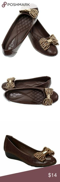 Women Serpent Wedge Bow Flats, b-1401W, Brown Brand new Tory Klein woman snakeskin -design flats in PU leather with an adorable beaded bow in the front. Small comfortable wedge, soft sole, true to size. Ribbed bottom sole for extra traction. A true statement in ladies shoes fashion! Tory K  Shoes Flats & Loafers