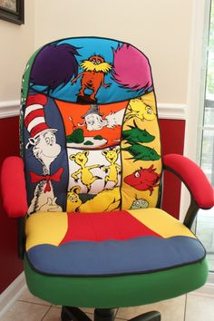 Recently I embarked on a project to do a new desk chair for my wife for her first grade classroom, which is themed Dr. This chair is similar to the chair I did for Ms. Jessica at her new desk in the front office. Classroom Chair, Life Skills Classroom, Classroom Design, Future Classroom, Classroom Themes, School Classroom, Classroom Organization, Dr Seuss Chairs, Theme Bedrooms