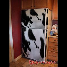 Cow pattern Refrigerator wrap sticker Every order is custom size to fit the product that your going to wrap. You get a Squeegee and blade with every order Refrigerator wraps - Rm wraps Key features - Paint Refrigerator, Refrigerator Wraps, Cow Kitchen Decor, Shabby Chic Kitchen, Cow Decor, Kitchen Ideas, Western Decor, Rustic Decor, Old Barn Doors