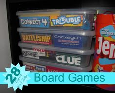 Organize Your Board Games Days to De-Clutter} Authentic Simplicity Board Game Organization, Board Game Storage, Kids Room Organization, Storage Organization, Board Games, Rv Storage, Storage Hacks, Plastic Storage, Playroom Ideas