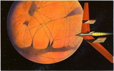 """Winged Mars Rocket"" by James Heugh, an illustration for Rockets Through Space by Lester del Rey (the only nonfiction title in the Winston Science Fiction Series)."