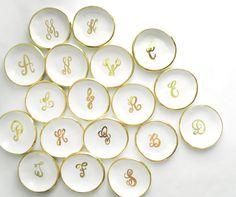 Custom calligraphy monogram handmade ceramic ring dish in