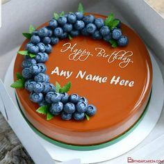 Blueberry Caramel Birthday Cake With Name Generator Birthday Wishes Cake, Birthday Cake With Photo, Birthday Name, Birthday Cards, Cake Templates, Cake Name, Birthday Wallpaper, Beautiful Rose Flowers, Name Generator