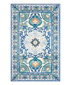 Look what I found on #zulily! Blue Floral Leda Rug #zulilyfinds