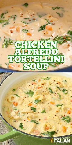 Soup Recipes 96621 Chicken Alfredo Tortellini Soup is like your favorite chicken Alfredo recipe with vegetables in a rich and velvety soup. It is warm and comforting and utterly happy-dance inducing! Best Soup Recipes, Easy Dinner Recipes, Easy Meals, Fall Crockpot Recipes, Recipes For Four, Cheap Easy Dinners, Crock Pot Soup Recipes, Beef Recipes, Summer Soup Recipes