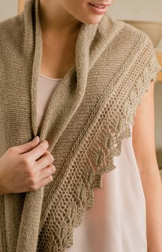 Knitting Pattern for Beech Leaf Shawl - Worked top down in stockinette shaped with short-rows, the Beech Leaf Shawl features a wide, scarflike shape and a leaf-inspired lace edging. 3 sizes. DK weight. Designed by Joan Forgione