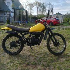 Yellow scrambler Yamaha dt 80 mx by Piotrek magda Tracker Motorcycle, Scrambler, Yamaha, Yellow
