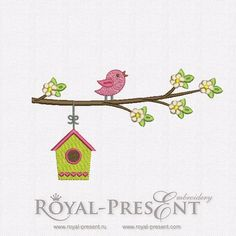 Free Machine Embroidery Design – Bird and birdhouse | Hoop size: 140х200 mmRoyal Present Embroidery