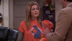 Rachel Green from Friends wearing a super cute Cookie Monster Tee. Click here to find out more: http://withlovefromlou.co.uk/2016/08/rachel-green-friends/