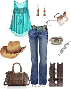 """Boots"" by dixi3chik on Polyvore--  Whoever this dixi3chik is, she's got good taste in Texas girl clothes!"