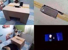 Utilizando una caja como soporte de un celular es posible ver películas como si estuvieras en un cine http://ir.tn.com.ar/1qgR5pj