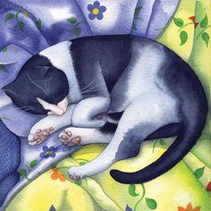 Спящий Том Кейт Грин, Открытка с изобразительным искусством, Смешанная техника, Спящая кошка