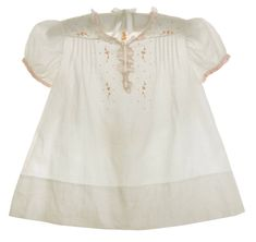 Heirloom 1940s Unworn Feltman Brothers White Dress with Pink Embroidery and Delicate Pink Ruffles $100.00  #FeltmanBrothers