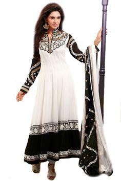 Shop Now - http://valehri.com/salwar-kameez/927-off-whiteblack-flowing-georgette-long-salwar-kameez.html