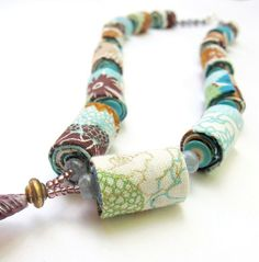 Hand rolled fiber necklace