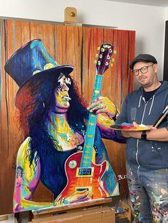 Slash portræt maleri - Allan Buch Malerier - portrætmalerier