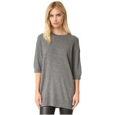 Vince Slouch Cashmere Sweater ($320) ❤ liked on Polyvore featuring tops, sweaters, h stone, crew top, short sleeve crew neck sweater, vince sweaters, crew sweater and slouchy cashmere sweater