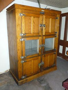 McCRAY Wooden REFRIGERATOR Antique 1900's Oak ICE BOX Chest Vintage
