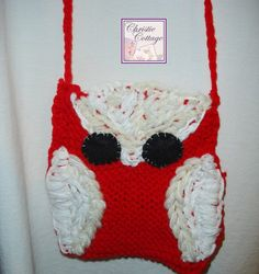 Owl Purse Hand Knit Purse Tote Red by ChristieCottage on Etsy