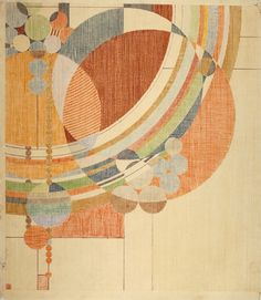 """Frank Lloyd Wright. March Balloons. 1955. Drawing based on a c. 1926 design for Liberty magazine. Colored pencil on paper, 28 1/4 x 24 1/2"""" (71.8 x 62.2 cm). The Frank Lloyd Wright Foundation Archives (The Museum of Modern Art 