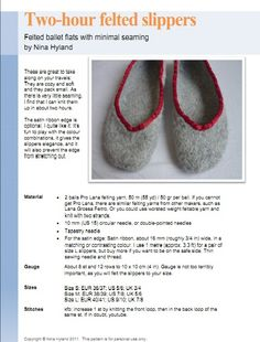Two Hour Felted Slippers pattern by Nene – Nanette Rasmussen Two Hour Felted Slippers pattern by Nene Ravelry: Two Hour Felted Slippers pattern by Nina Hyland Knit Slippers Free Pattern, Knitted Slippers, Knitting Patterns Free, Free Knitting, Simple Knitting, Knitting Club, Knitting Machine, Crochet Patterns, Ravelry