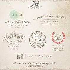 INSTANT DOWNLOAD  Save The Date Words Overlays by 7thavenuedesigns, $20.00