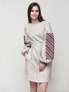 Жіноча сукня із сірого льону з вишивкою на пишних рукавах MD8 2 9fb8fbcd61853