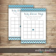 Baby Shower Bingo Card  / Chevron & Elephant Shower Bingo / Baby Boy Shower - INSTANT DOWNLOAD - Printable on Etsy, $6.00