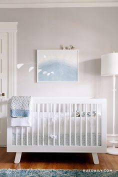 Stylish blue & white baby boy nursery