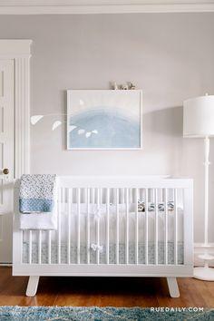 Stylish blue & white baby boy nursery