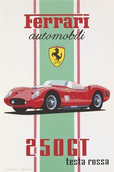PEL215: '1960 Ferrari 250 GT Testa Rossa' by Charles Avalon - Vintage car posters - Art Deco - Pullman Editions - Ferrari