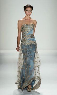 Venexiana: Spring 2013 strapless designer evening gown formal dress blue