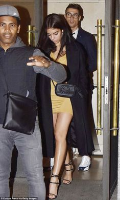 Date night: Cristiano Ronaldo was accompanied by stunning new girlfriend Georgina Rodriguez during a romantic night out in the Spanish capital