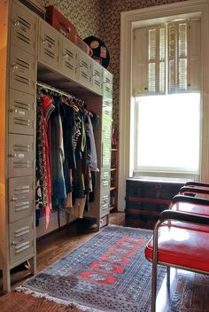The lockers are a fantastic idea for storage.  Love the trunk and rug too.