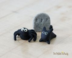 Fairy Garden Halloween Decorations Miniature spider, cat, and headstone - terrarium accessory - Set of 3