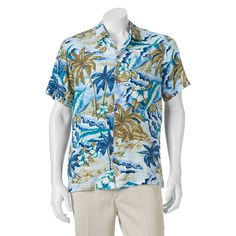 Men's Caribbean Joe Casual Tropical Button-Down Shirt, Size: