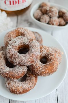 Apple Cider Doughnuts - yummy cake doughnuts made with apple cider and covered in cinnamon sugar!